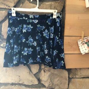 LC Lauren Conrad Black Floral Skater Skirt